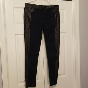 Navy Blue Stretch Pants with Faux Leather Detai
